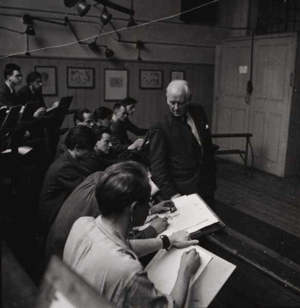 Sir Henry Rushbury with students, the Life Room, Royal Academy Schools, 1953., March 1953